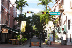 Restaurants am Espanola Way in Miami Beach, Florida