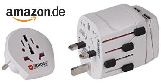 Skross Weltreiseadapter (2500 W) mit USB bei Amazon