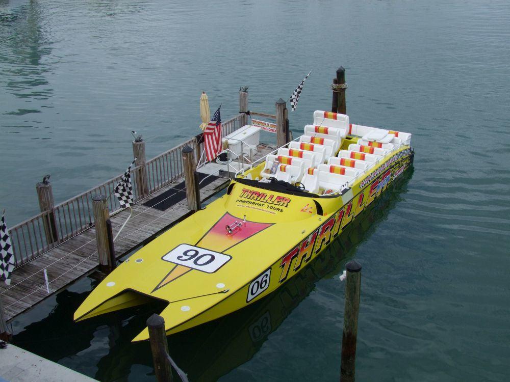 Mit dem Speedboot unterwegs. Abbildung zeigt ähnliches Speedboot wie in der Tour.